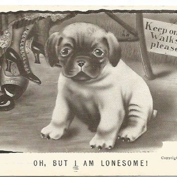 "Antique Postcard ""Oh, But I Am Lonesome!"" Artist Signed Vincent V Colby Copyright 1909 Puppy by Lady and Man's Feet"