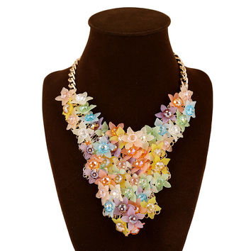 New Arrival Gift Shiny Jewelry Fashion Accessory Stylish Crystal Gemstone Floral Costume Necklace [6056700737]
