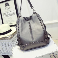 Punk Style Large Leather Backpack Shoulder Studded Handbag Crossbody Bag