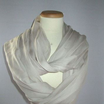 VONEIR6 CHANEL SHEER SILK SHAWL / SCARF LIGHT CREAM SOLID COLOR.