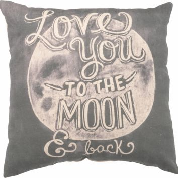 Love You To The Moon & Back - Gray White Throw Pillow 16-in