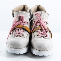Beige leather hiking boots size:11
