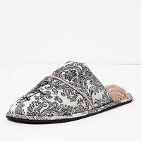 Cream paisley print slipper - slippers - Lingerie & Nightwear - women
