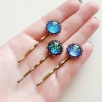 Black Blue Glitter Domed Glass Hairpins Vintage Cabochons Nail Polish