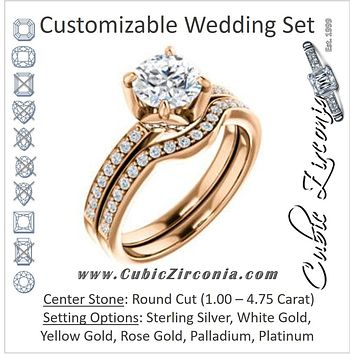 CZ Wedding Set, featuring The Sandy engagement ring (Customizable Prong-Accented Round Cut Style with Thin Pavé Band)