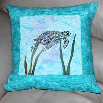 20 Inch Sea Turtle Quilted Throw Pillow, Machine Embroidered Sea Turtle, Cotton Batik Fabric, Turquoise and Aqua Blue Pillow