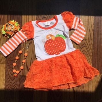 2018 new girl orange pumpkin haloween dress long sleeve children kids halloween outfits with matching bow and necklace