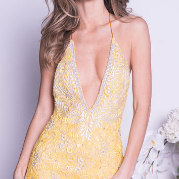 MANUELLA LACE DRESS IN YELLOW