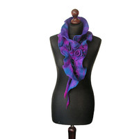 Nuno felted collar nuno felted scarf nuno felted shawl art to wear spring scarf blue purple violet boho collar with felted brooch OOAK