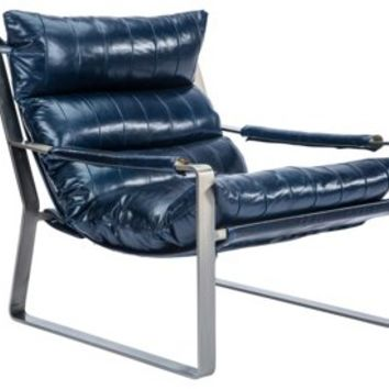 Skyline Leather Chair, Navy, Accent & Occasional Chairs