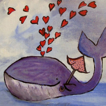 Whimsical Whale Painting Original Childrens Art by andralynn