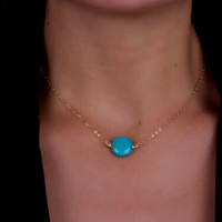 Boho Oblate Turquoise Charm Necklace