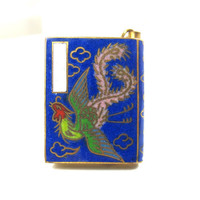Chinese Cloisonne Enamel Rooster Book Necklace Pendant, 3D Book Shaped Pendant With Rooster 2017 Year Of The Rooster, Chinese Export Jewelry