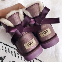 UGG Classic bow tie warm snow boots-3