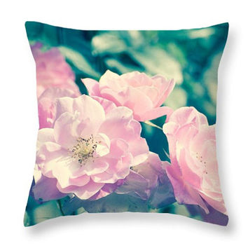 Spring Bloom Pillow. Pink Roses Cushion. Indoor Photo Art Pillow. Flowers Pillow. Outdoor seat cushion. Floral Throw Pillow