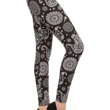 Women's Elephant Leggings Paisley Black/White: OS/PLUS