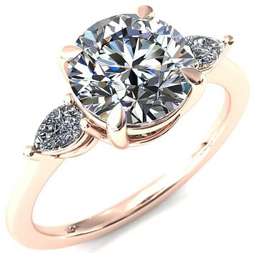 Robyn Round Moissanite 4 Claw Prong 2 Rail Basket Pear Sidestones Inverted Cathedral Engagement Ring