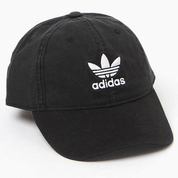 DCCKJH6 adidas Washed Black Strapback Dad Hat