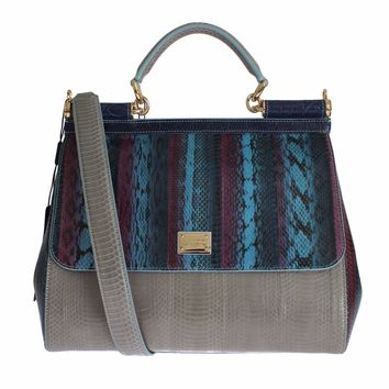 Multicolor Caiman Snakeskin Leather SICILY Hand Bag