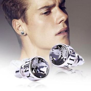 Hot New Crystal Stud Silver Earrings - Men