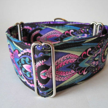 Purple Martingale Collar, 2 inch Martingale Collar, Purple, Black, Damask, Greyhound Collar, Purple Dog Collar, Wide Dog Collar