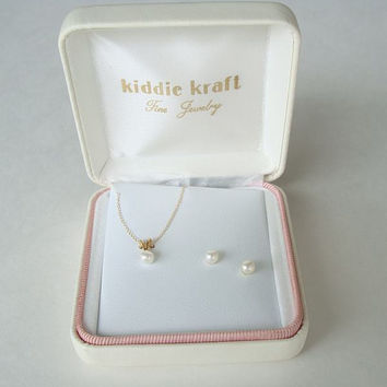 Kiddie Kraft 14K Gold Pearl Necklace Earrings Child Set Original Box Vintage Jewelry