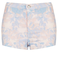 MOTO Pink Floral Denim Hotpant - Shorts - Clothing - Topshop