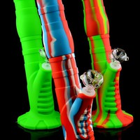 Large Colorful 2 Part Silicone Water Pipe