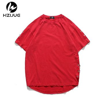 Original Personality side sleeves special design t-shirt summer men classic loose male t shirt pure cotton
