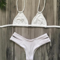 White fashion  back knot bikini two strape bikini bottom side open two piece bikini bath suit