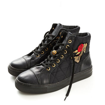 REDUCED were 225 now 175 awesome vintage 80s/90s SONIA RYKIEL black quilted high top leather sneakers trainers boots kicks