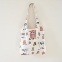 Slouchy Owl Bag, Owl Small Tote, Owl Purse, Soft Canvas Bag, Ready to Ship