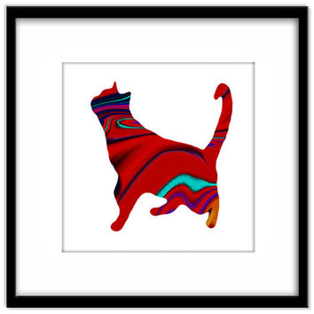 Red Abstract Patterned Cat, Bright Printable Poster, Cat Art Instant Download, Cat Lovers Wall Art