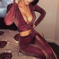 2018 Spring Summer 2 Piece Set Women V Neck Lace Up Crop Top And Long Pants Suit Ladies Sexy Mesh Transparent Two Piece Outfits