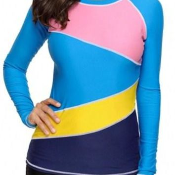 Women's Colorblock Blue Long Sleeve Rashguard Top