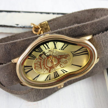 Gold Ladies Watch Inspired By Salvador Dali - Leather Accessories - Wrist Watches - Leather Watches - Women's Watches