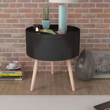 """Side Table with Serving Tray Round 15.6"""" x 7.5"""" Black"""