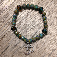 Meditation Bracelet, Czech Glass, OM, Hippie, Bohemian, Handmade, Jewelry