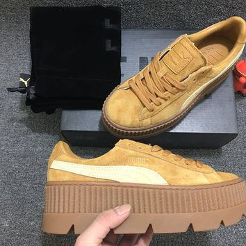 free shippng puma fenty rihanna cleated creeper platform oatmeal golden brown suede  number 1