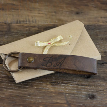 Personalized Leather Keychain -  Personalized Custom Leather Keychain - Personalized leather key fob