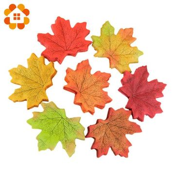 ac NOOW2 Hot Sale 50Pcs/lot Artifical Maple Leaves Fake Autumn Fall Leaf Wedding Party Decoration Craft Art Home Bedroom Wall Book Decor
