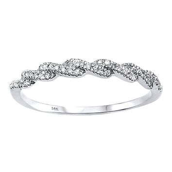 0.09ct Pavé Diamonds 14K White Gold Twisted Half Eternity Band Ring