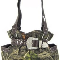 Brown Belted Rhinestone Western Buckle Soft Camo Purse Camouflage Cowgirl Bag