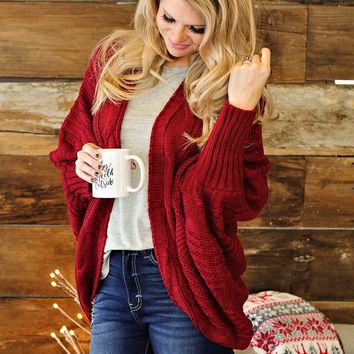 * Curl Up WIth a Book Dolman Cable Knit Cardigan : Deep Red