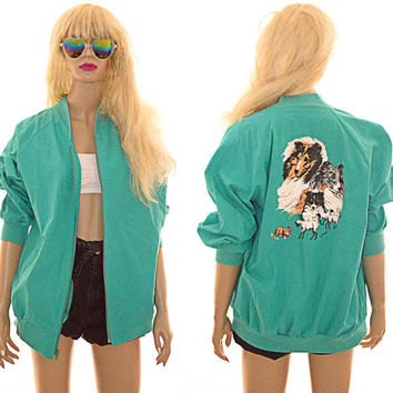 Dog Print Bomber Jacket Oversized Hand Painted Vintage Signed Turquoise Green Collie Sheep Wind Breaker
