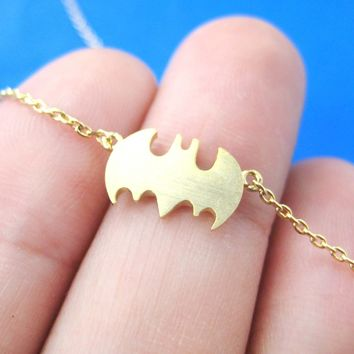 Bat Shaped Silhouette Symbol Batman Logo Charm Bracelet in Gold | DOTOLY