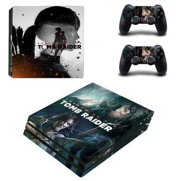 New PS4 Pro Skin Sticker Decal for PlayStation 4 Console and 2 Controller PS4 Pro Skin Sticker Vinyl Shadow of Tomb Raider