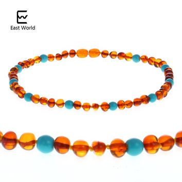 EAST WORLD Cognac Color Amber Necklace with Natural Turquoise Certificate Genuine Baltic Amber Adult Baby Jewelry Women Necklace