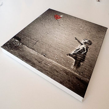 Banksy - The Girl With The Balloon Canvas (25x25 cm.)