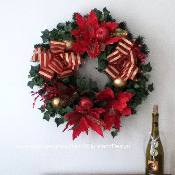 SUMMER SALE-Free Gift-Red Artificial Silk Christmas Wreath-Holiday Decorations